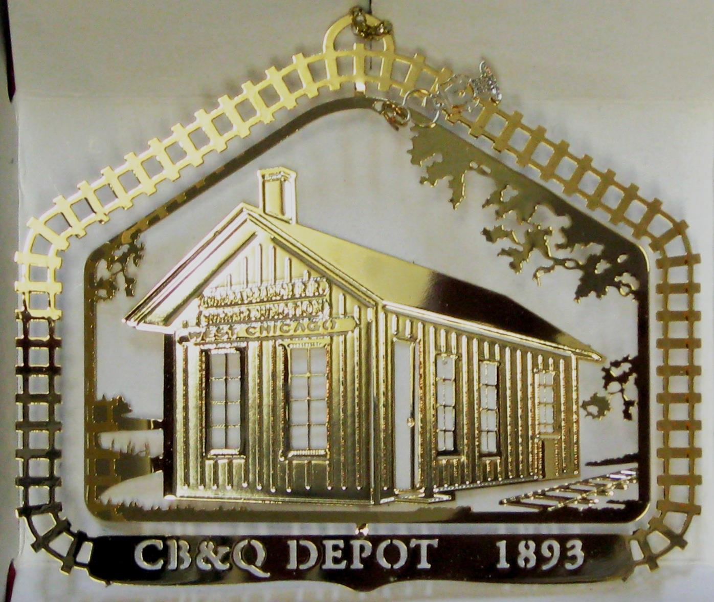 2001- CB&Q Depot ( Out of Stock)    This Chicago, ,Burlington & Quincy Railroad depot was built c. 1893. It replaced the originaldepot that dated back to 1850 when the Burlington built its very first track from junction (now West Chicago) to Aurora. Today's BurlingtonNorthern Sante Fe, our country's largest railroad, began here. The depot was donated to the City by the Burlington in 1976. It has been moved from its original site on Wood Street and is now part of a railroad park.