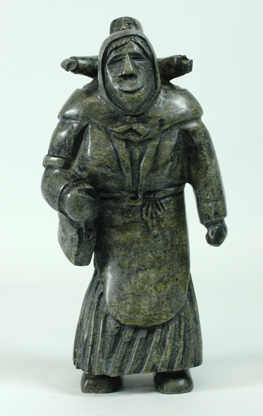 6549I      PITSEOLAK QIMIRPIK  WOMAN AND CHILD, 2014  Serpentine  H13 x W6 x D4.5 in