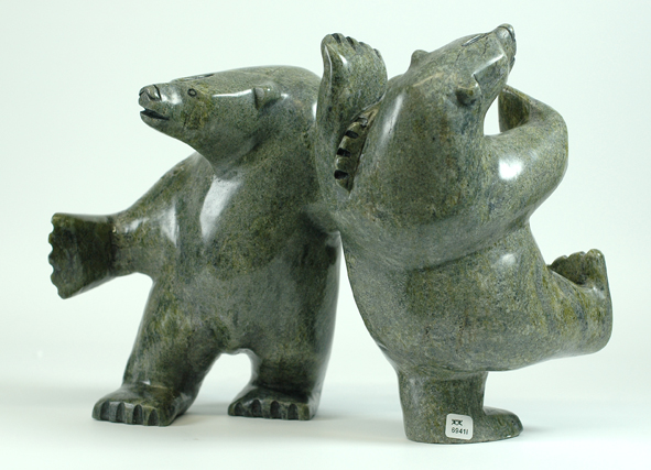 6941I      JOANNIE RAGEE  TWO BEARS, 2014  Serpentine  H10.5  x W13.5 x D7.5 in