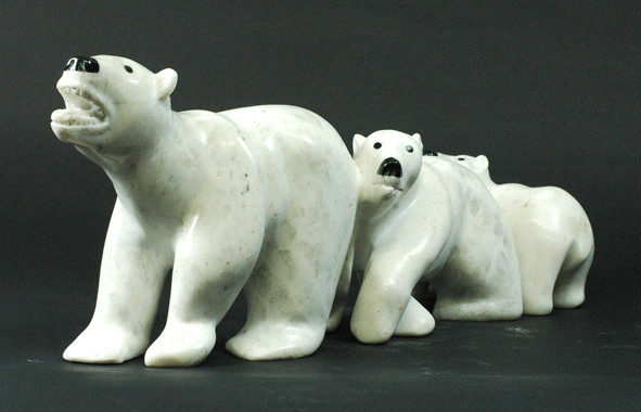 6333E  POOTOOGOOK JAW  BEAR AND CUBS, 2014   Marbel  H 7 x  W 17 x D 4 in