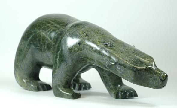 "Ashevak Tunnillie 6427I Bear, 2014 Serpentinite h 10"" w 22.5"" d 8.5"""