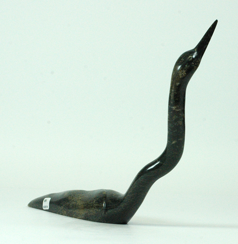 "Ningeosiaq Ashoona  6081H Loon, 2013     Serpentinite  h 9.5"" w 14"" d 2"""