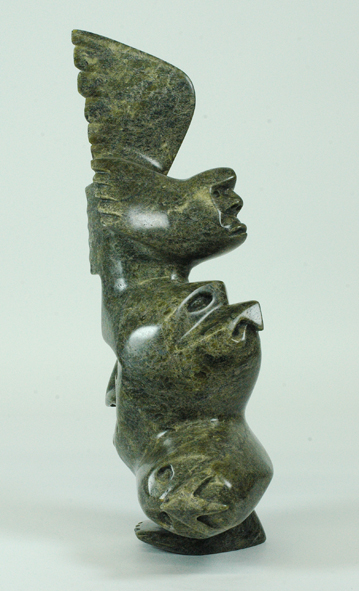 "Ningeosiaq Ashoona  6545I Transformation, 2014  Serpentinite  h 12"" w 5.5"" d 3.5"""