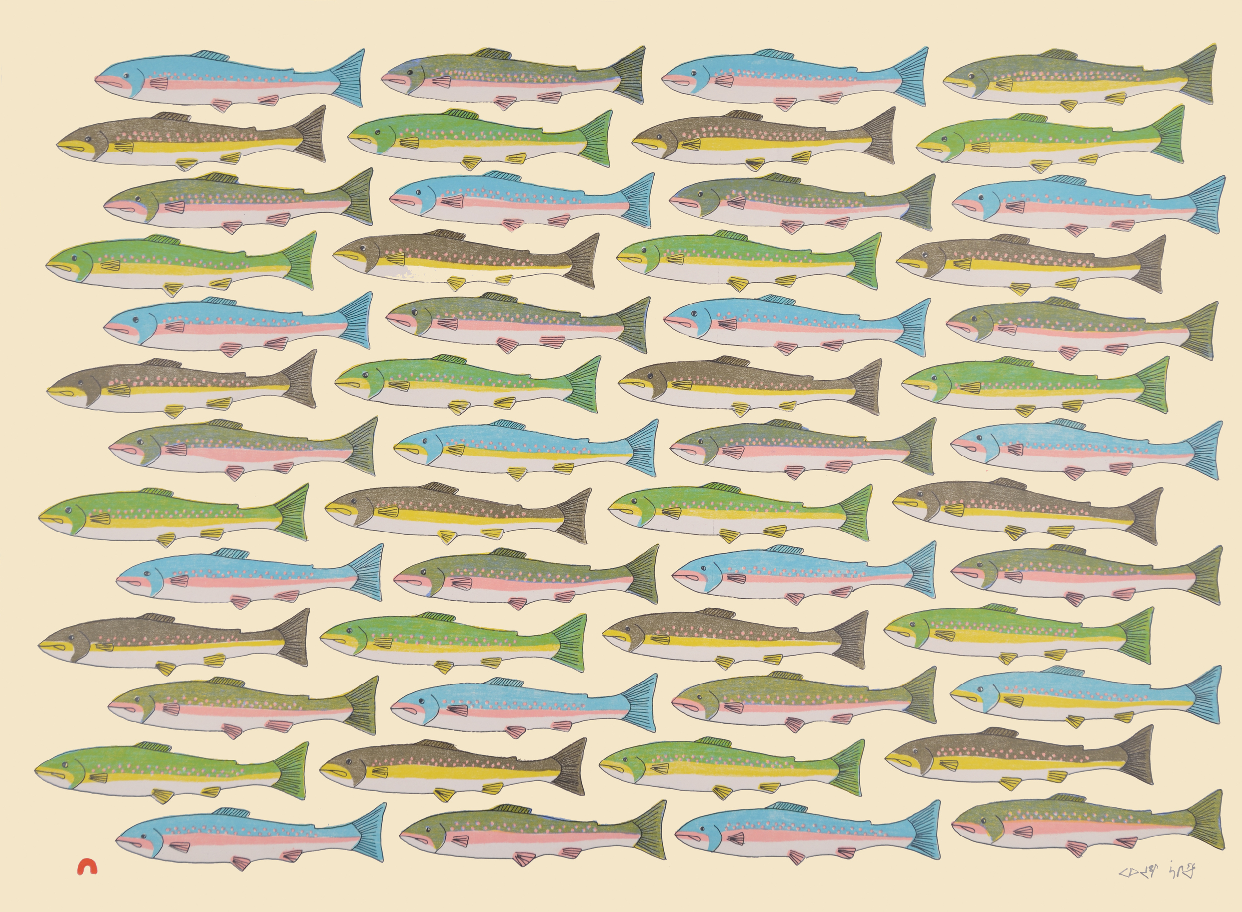PAUOJOUNGIE SAGGIAK  16-13  Counting Char   Lithograph  Paper: BFK Rives Cream  Printer: Niveaksie Quvianaqtuliaq  56 x 76.5 cm  $ 550