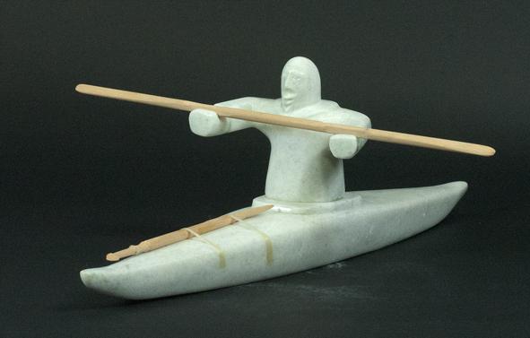 """6357G Kayak Hunter,2013   Noah Jaw   ht 5"""" wdth 16.5"""" dpth 12""""  Marble, wood, sinew"""