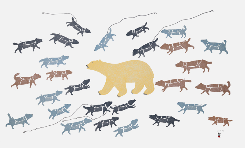 Papiara Tukiki  POLAR BEAR IN CAMP Stonecut & Stencil 2015 62 x 99.5 cm $1400.00 CDN Released in the 2015 collection Dorset ID#: 15-13
