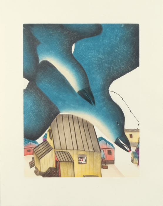 Ningeokuluk Teevee  TULUGAK'S VIEW Etching & Aquatint 2013 81.5 x 63.5 cm $900.00 CDN Released in the 2013 collection Dorset ID#: 13-12