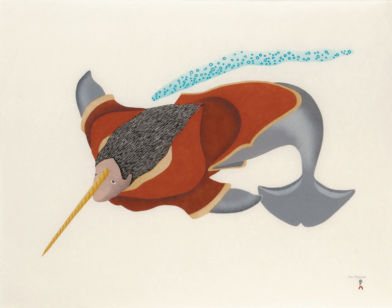 Tim Pitsiulak  NARWHAL SPIRIT Stonecut & Stencil 2013 62 x 78.3 cm $800.00 CDN Released in the 2013 collection Dorset ID#: 13-32
