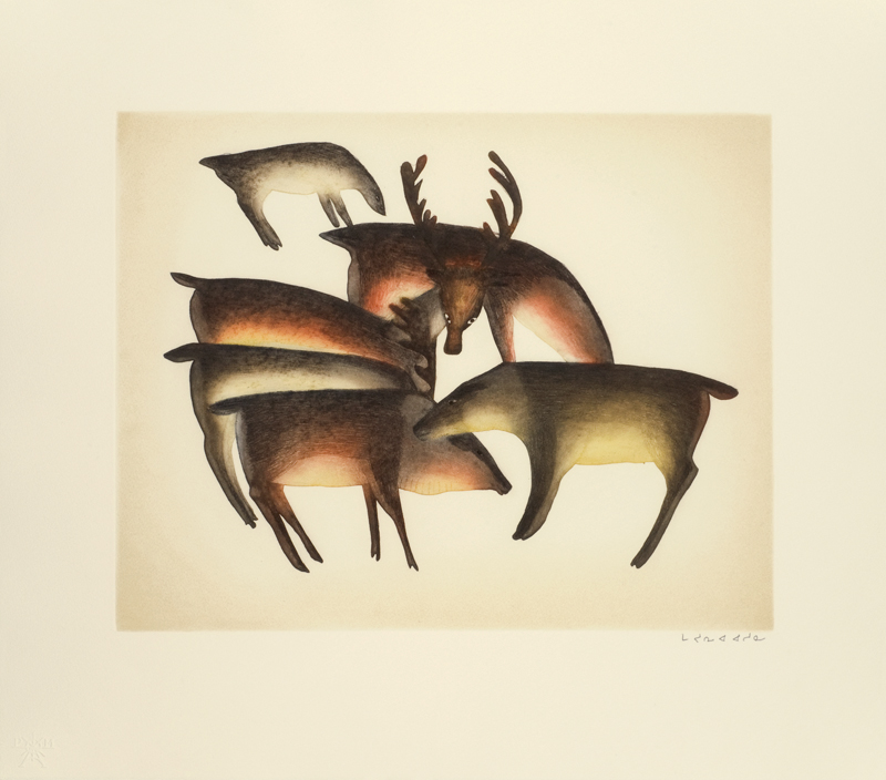 Mayoreak Ashoona  CARIBOU GATHER Etching & Aquatint 2012 61 x 68.5 cm $600.00 CDN Released in the 2012 collection Dorset ID#: 12-10