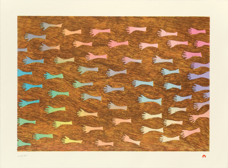 Papiara Tukiki  HELPING HANDS Lithograph 2012 57 x 76.5 cm $600.00 CDN Released in the 2012 collection Dorset ID#: 12-16