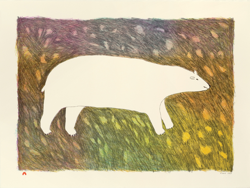 Papiara Tukiki  TUNDRA BEAR Lithograph 2012 57.5 x 76.7 cm $600.00 CDN Released in the 2012 collection Dorset ID#: 12-19