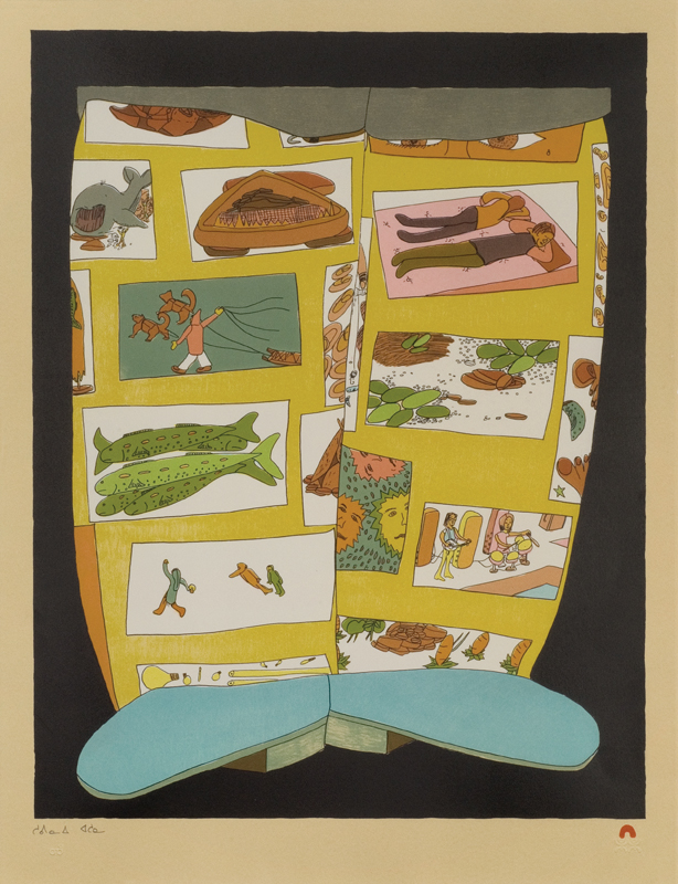 Shuvinai Ashoona  STORY BOOTS Lithograph 2012 65 x 49.8 cm $700.00 CDN Released in the 2012 collection Dorset ID#: 12-27
