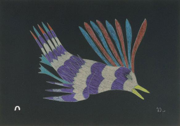 Kakulu Saggiaktok  CURIOUS BIRD Lithograph 2011 25.8 x 35.9 cm $350.00 CDN Released in the 2011 collection Dorset ID#: 11-02