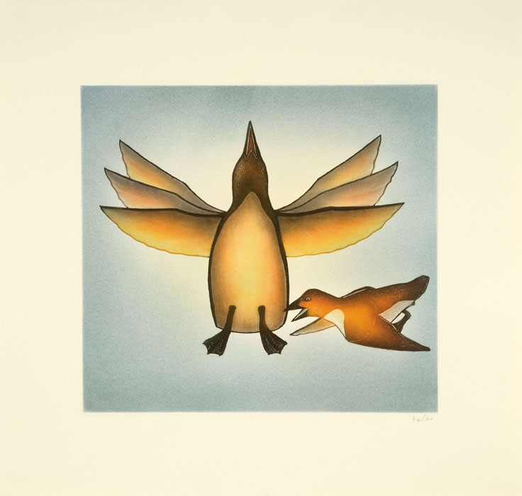 Kananginak Pootoogook  FLUTTER Etching & Aquatint 2010 56.5 x 59.7 cm $600.00 CDN Released in the 2010 collection Dorset ID#: 10-08