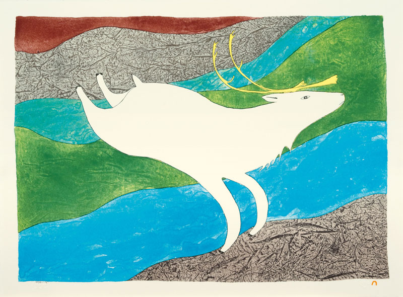 Ningeokuluk Teevee  TUKTU QAKUQTAQ (WHITE CARIBOU) Lithograph 2010 57 x 76.8 cm $800.00 CDN Released in the 2010 collection Dorset ID#: 10-25