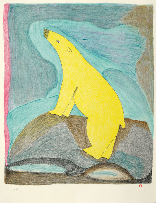 Ohotaq Mikkigak  YELLOW BEAR Lithograph 2010 66.2 x 51 cm $600.00 CDN Released in the 2010 collection Dorset ID#: 10-29
