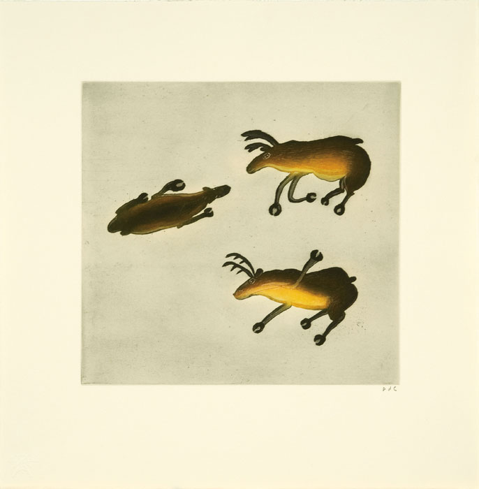 Ohotaq Mikkigak  DANCING CARIBOU Etching & Aquatint 2010 47.5 x 46.5 cm $400.00 CDN Released in the 2010 collection Dorset ID#: 10-30