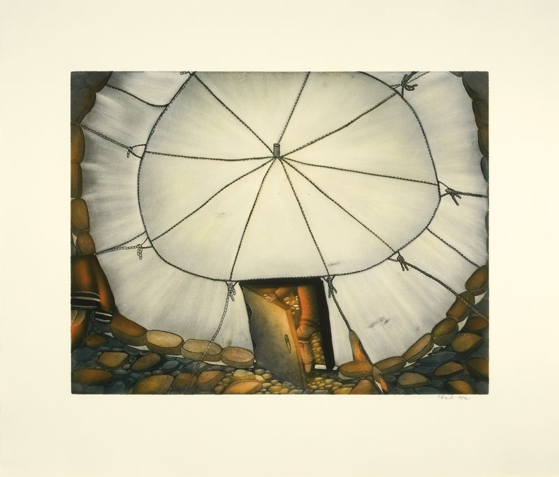 Shuvinai Ashoona  AUJAQSIUT TUPIQ (SUMMER TENT) Etching & Aquatint 2009 80.2 x 94 cm $800.00 CDN Released in the 2009 collection Dorset ID#: 09-33