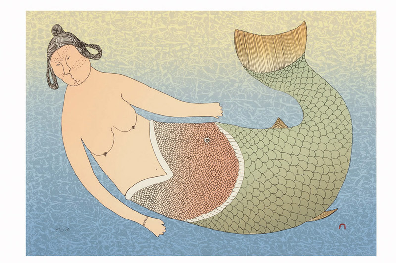 Ningeokuluk Teevee  SEA MISTRESS Lithograph 2008 36 x 51.2 cm $500.00 CDN Released in the 2008 collection Dorset ID#: 08-25