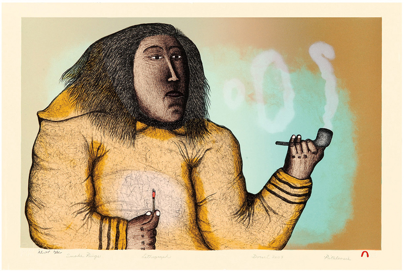 Pitaloosie Saila  SMOKE RINGS Lithograph 2007 38.5 x 57.4 cm $500.00 CDN Released in the 2007 collection Dorset ID#: 07-28