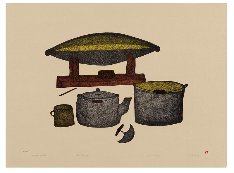 Pitaloosie Saila  CAMP KITCHEN Lithograph 2007 56.5 x 76.5 cm $600.00 CDN Released in the 2007 collection Dorset ID#: 07-29