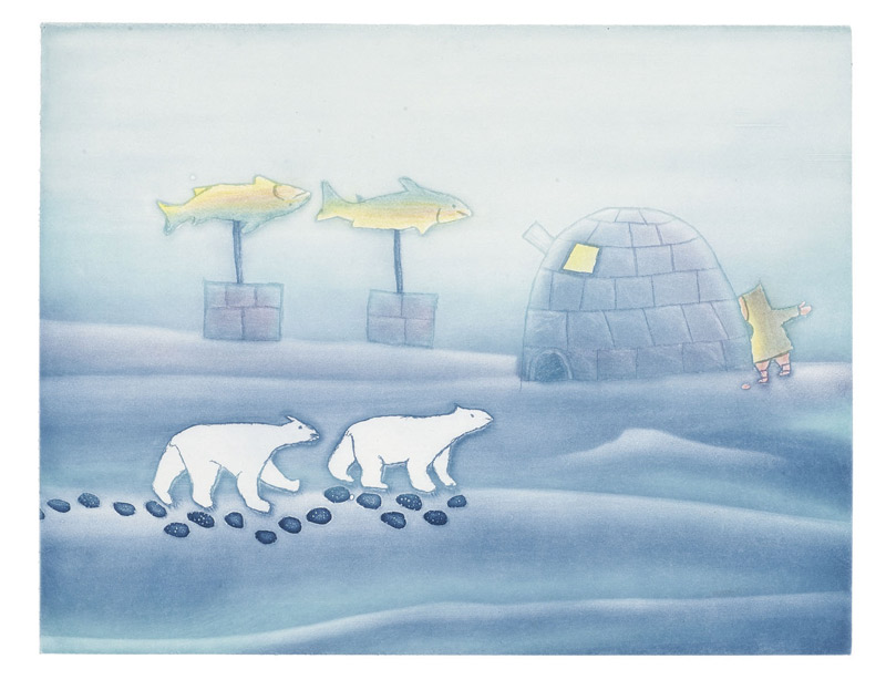 Papiara Tukiki  WINTER Etching & Aquatint 2006 49.5 x 58 cm $500.00 CDN Released in the 2006 collection Dorset ID#: 06-29