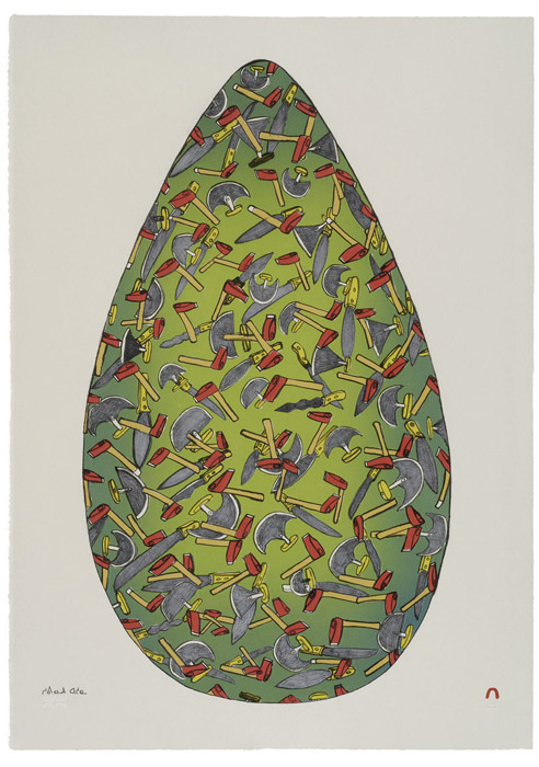 Shuvinai Ashoona  EGG Lithograph 2006 61 x 43.3 cm $600.00 CDN Released in the 2006 collection Dorset ID#: 06-33