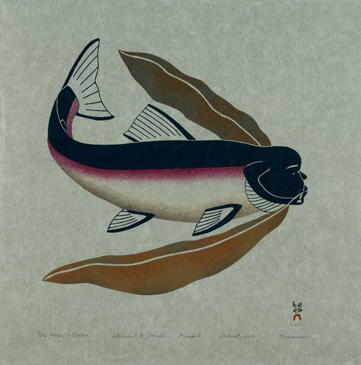 Qavavau Manumie  THE KELP COLLECTOR Stonecut & Stencil 2005 43.5 x 43.2 cm $400.00 CDN Released in the 2005 collection Dorset ID#: 05-09