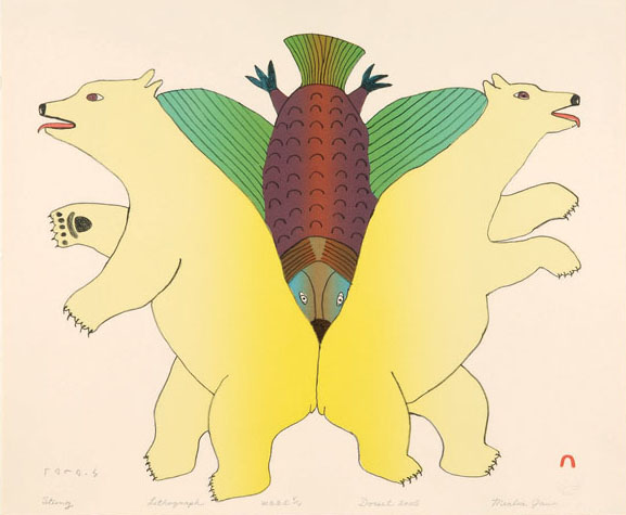 Mialia Jaw  STUNG Lithograph 2005 38 x 46 cm $350.00 CDN Released in the 2005 collection Dorset ID#: 05-21