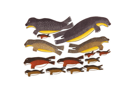 Meelia Kelly  COLONY OF SEALS Stonecut & Stencil 2004 63.7 x 76.5 cm $550.00 CDN Released in the 2004 collection Dorset ID#: 04-19