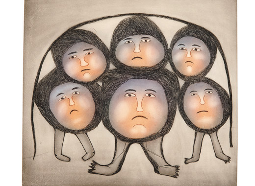 Ohotaq Mikkigak  THE WALKING HEADS Etching & Aquatint 2004 80 x 80 cm $600.00 CDN Released in the 2004 collection Dorset ID#: 04-28