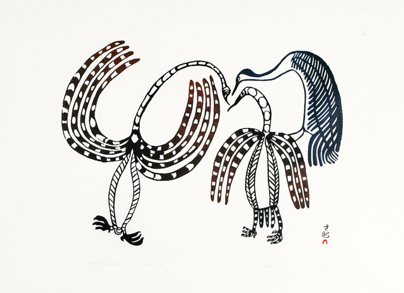 Lucy Qinnuayuak  TALK OF BIRDS Stonecut 1967 62.5 x 86 cm $1000.00 CDN Released in the 2004 Spring collection Dorset ID#: 04S-05