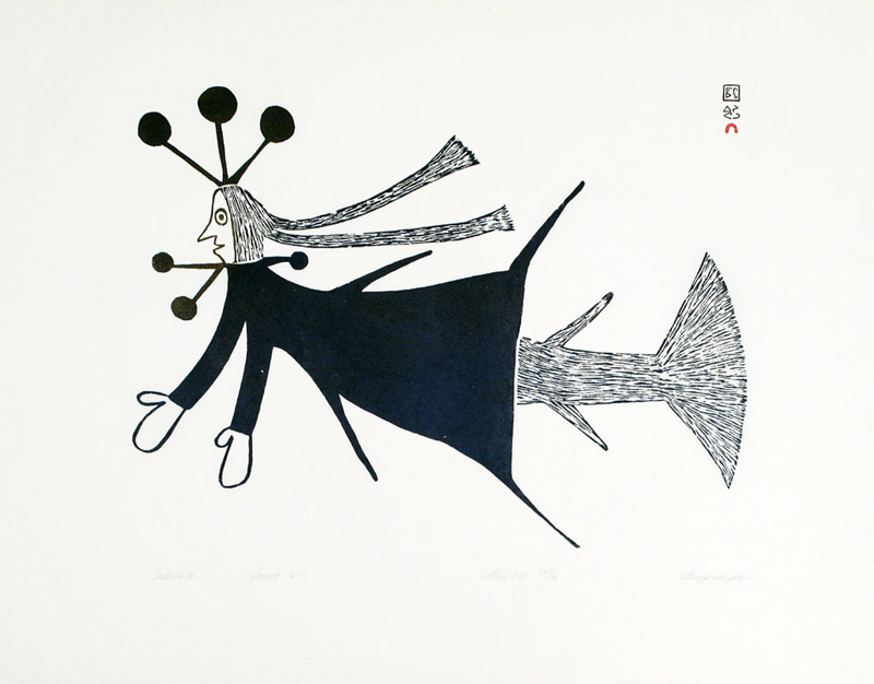 Ningeeuga Oshuitoq  TALEELAYO Stonecut 1968 62.5 x 75.8 cm $800.00 CDN Released in the 2004 Spring collection Dorset ID#: 04S-06