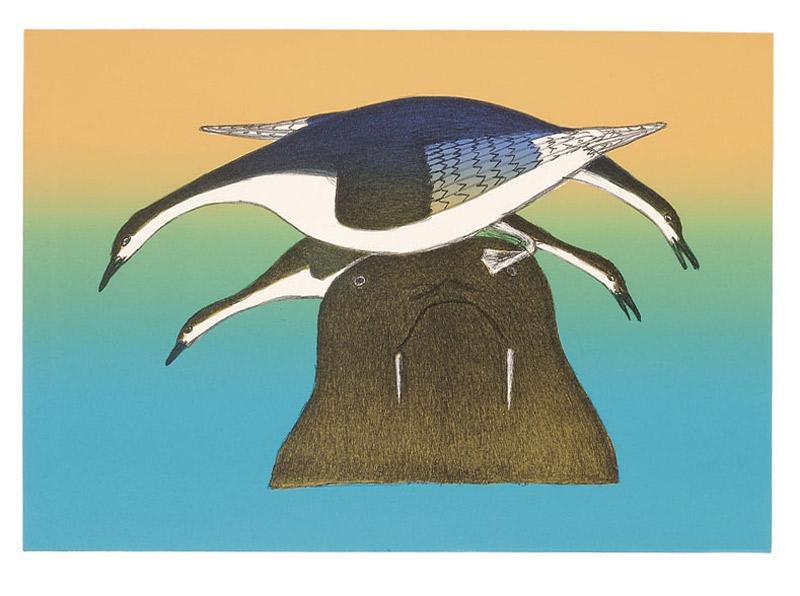 Kakulu Saggiaktok  WALRUS PERCH Lithograph & Stencil 2003 51.5 x 71.5 cm $450.00 CDN Released in the 2003 collection Dorset ID#: 03-04