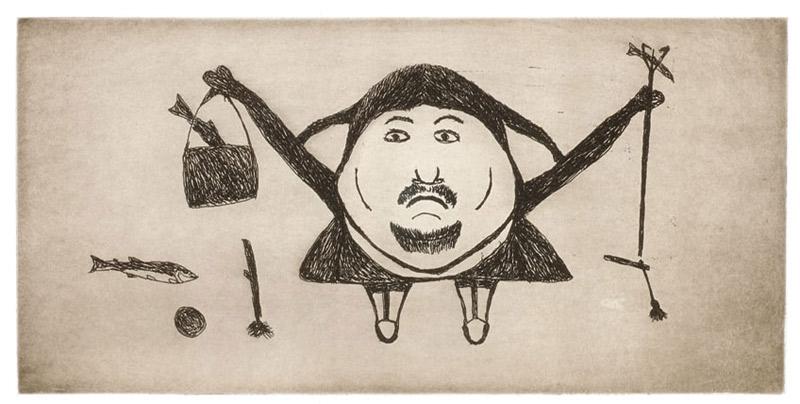 Ohotaq Mikkigak  TRIUMPHANT CATCH Etching & Aquatint 2003 35 x 52 cm $300.00 CDN Released in the 2003 collection Dorset ID#: 03-22