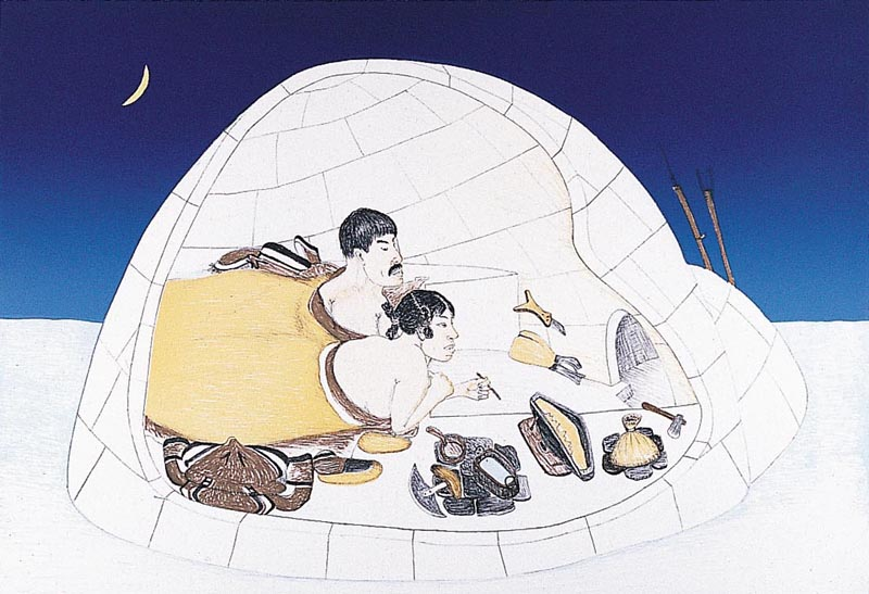 Kananginak Pootoogook  AN INTIMATE MEMORY Lithograph 2001 57.3 x 76.4 cm $600.00 CDN Released in the 2001 collection Dorset ID#: 01-08