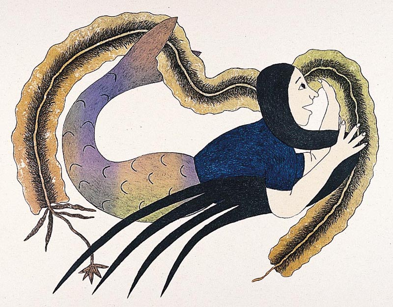 Mary Pudlat  KEEPER OF THE KELP Lithograph 2001 55 x 63.8 cm $500.00 CDN Released in the 2001 collection Dorset ID#: 01-17