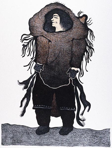 Pitaloosie Saila  THE OUTCAST Lithograph 2001 76.5 x 57.4 cm $600.00 CDN Released in the 2001 collection Dorset ID#: 01-29