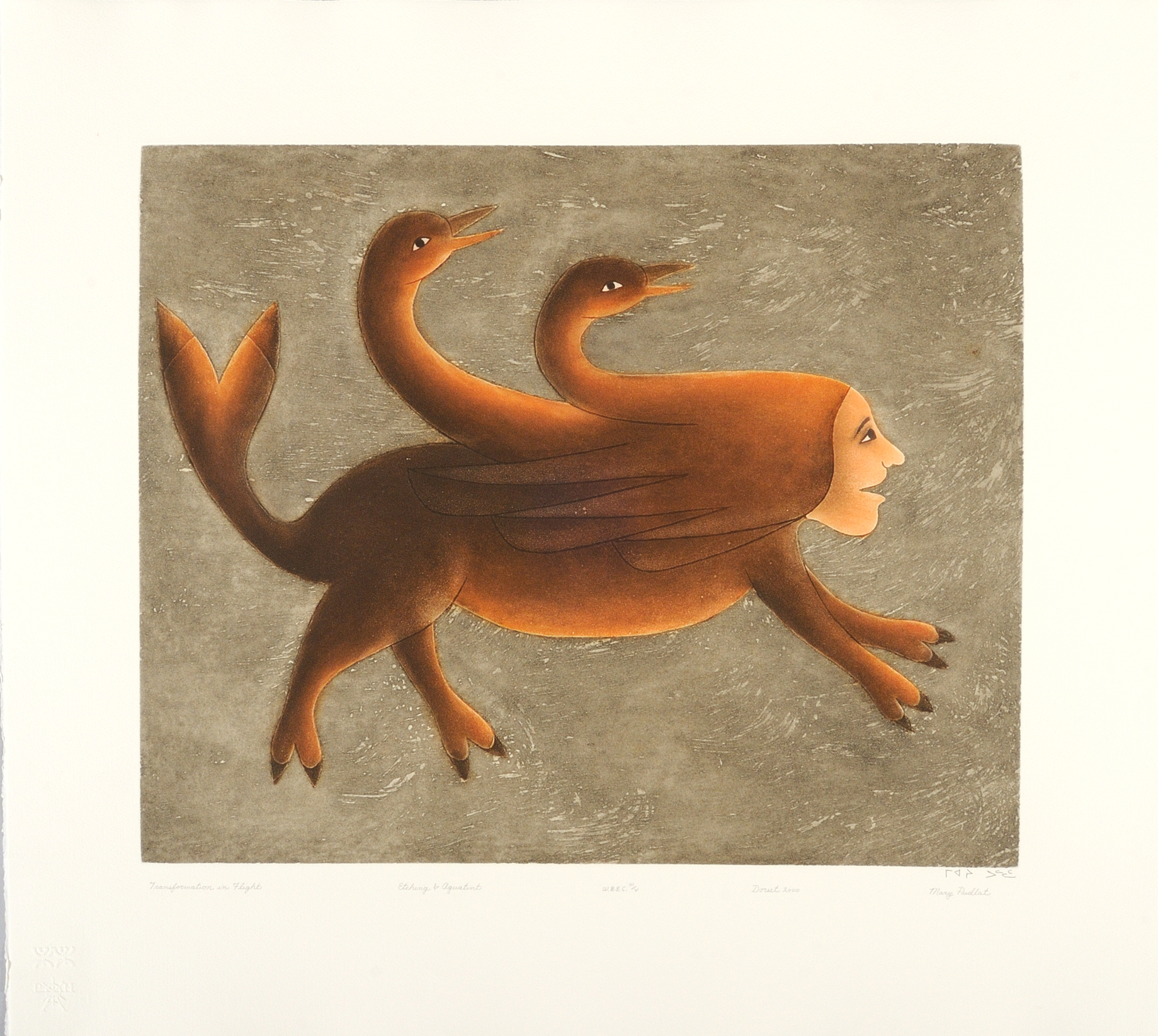 Mary Pudlat  TRANSFORMATION IN FLIGHT Etching & Aquatint 2000 79.5 x 87.3 cm $600.00 CDN Released in the 2000 collection Dorset ID#: 00-17