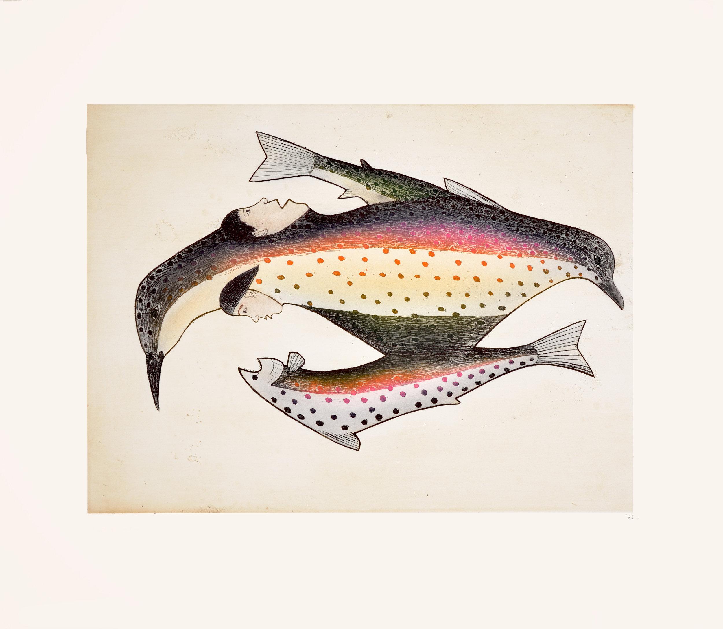 Kakulu Saggiaktok  MYTH OF CREATION Etching & Aquatint 2000 68.5 x 80 cm $500.00 CDN Released in the 2000 collection Dorset ID#: 00-03