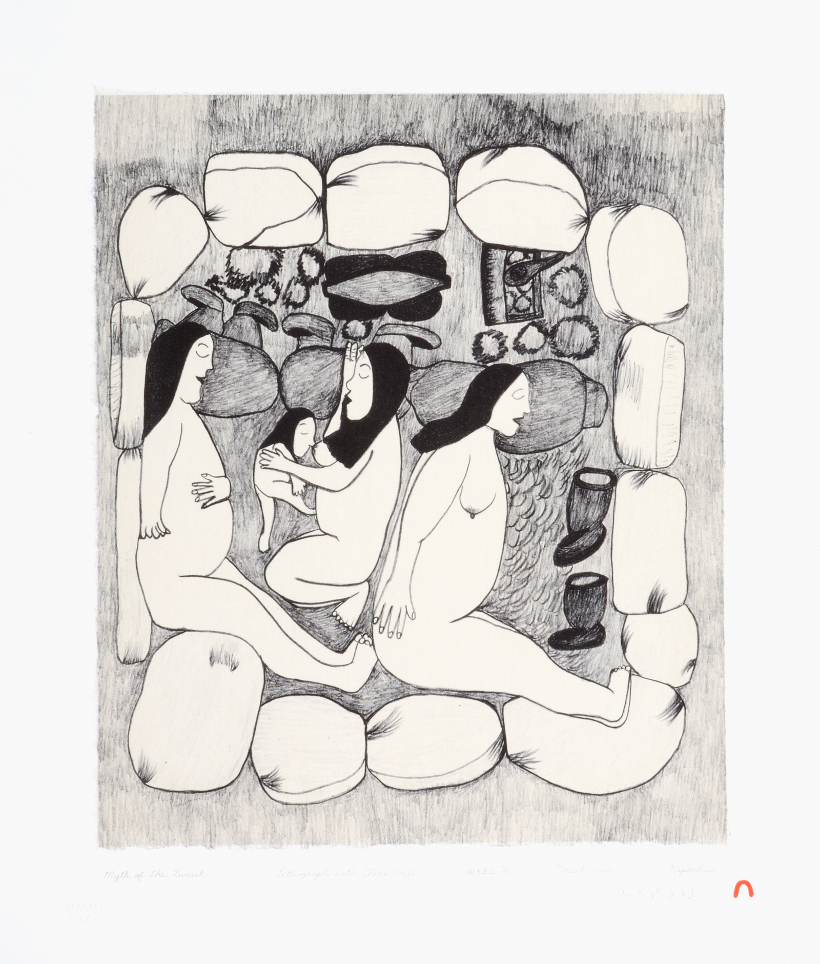 Napachie Pootoogook  MYTH OF THE TUNIIT Lithograph & Chine Colle 2000 51 x 43.2 cm $450.00 CDN Released in the 2000 collection Dorset ID#: 00-22