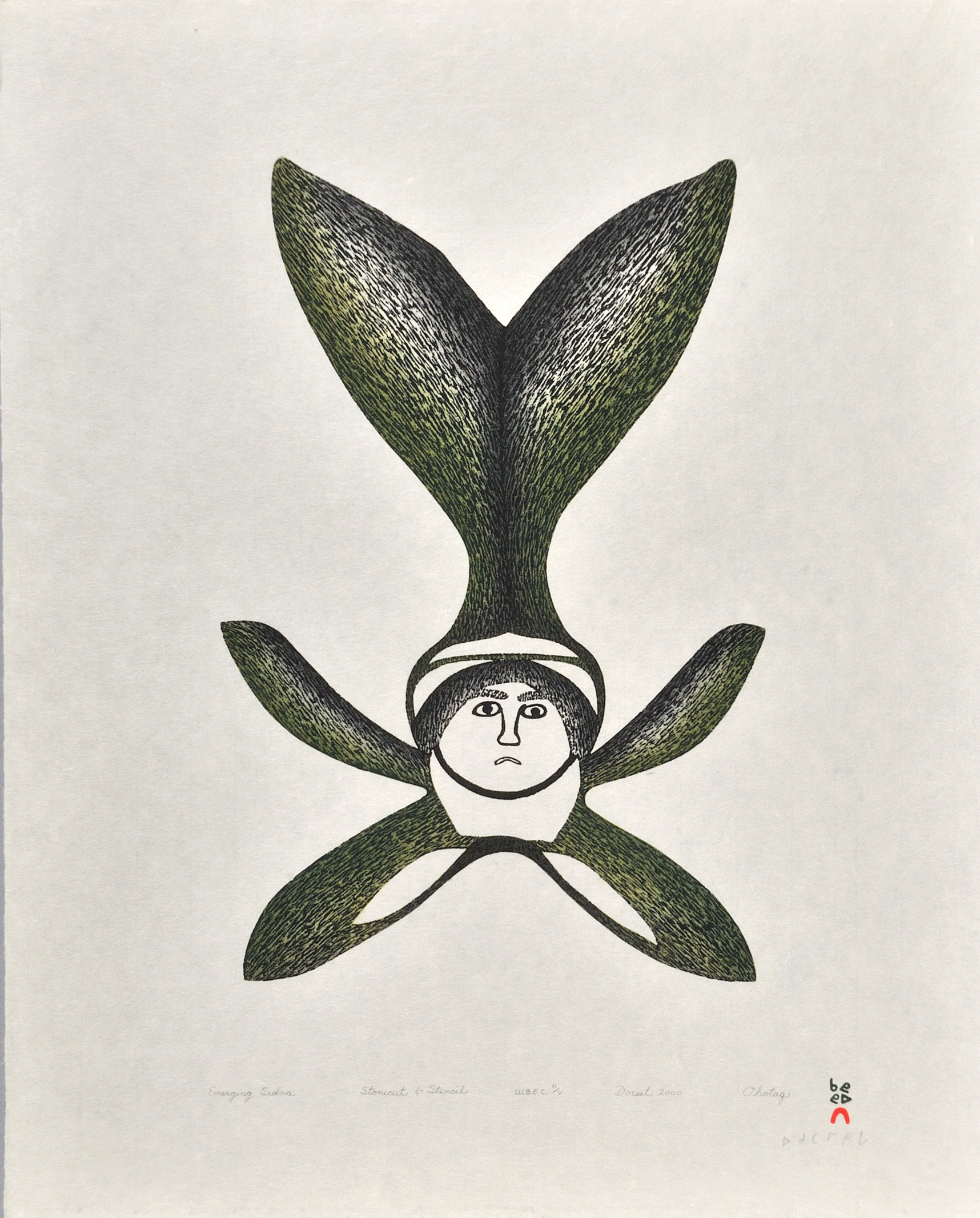 Ohotaq Mikkigak  EMERGING SEDNA Stonecut & Stencil 2000 62.2 x 49.7 cm $400.00 CDN Released in the 2000 collection Dorset ID#: 00-23