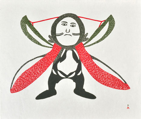 Ohotaq Mikkigak  SHAMAN POSSESSED Stonecut 2000 56 x 66.2 cm $450.00 CDN Released in the 2000 collection Dorset ID#: 00-26