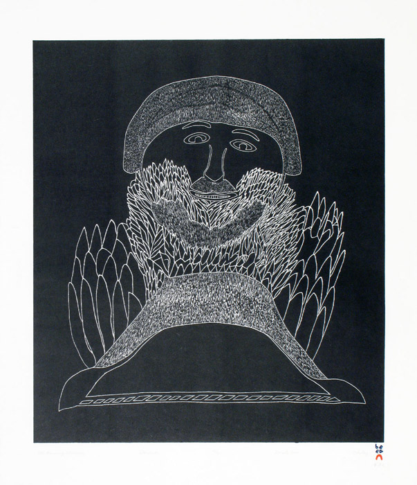 Ohotaq Mikkigak  ALL-KNOWING SHAMAN Stonecut 2000 68.7 x 62.2 cm $450.00 CDN Released in the 2000 collection Dorset ID#: 00-24