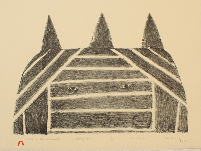 Kakulu Saggiaktok  SOUL OF THE QARMAK Lithograph 2000 28.5 x 37.9 cm $300.00 CDN Released in the 2000 Spring collection Dorset ID#: 2000-S01
