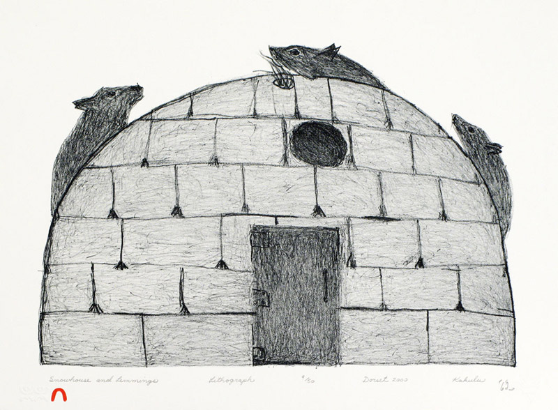 Kakulu Saggiaktok  SNOWHOUSE AND LEMMINGS Lithograph 2000 28.5 x 38.2 cm $300.00 CDN Released in the 2000 Spring collection Dorset ID#: 2000-S02