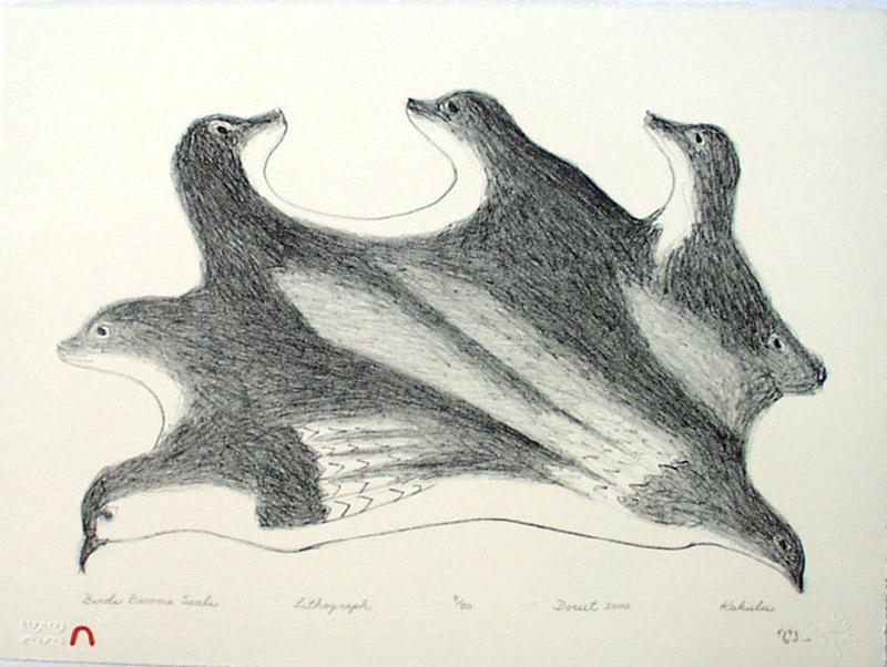 Kakulu Saggiaktok  BIRDS BECOME SEALS Lithograph 2000 28.4 x 38 cm $300.00 CDN Released in the 2000 Spring collection Dorset ID#: 2000-S04