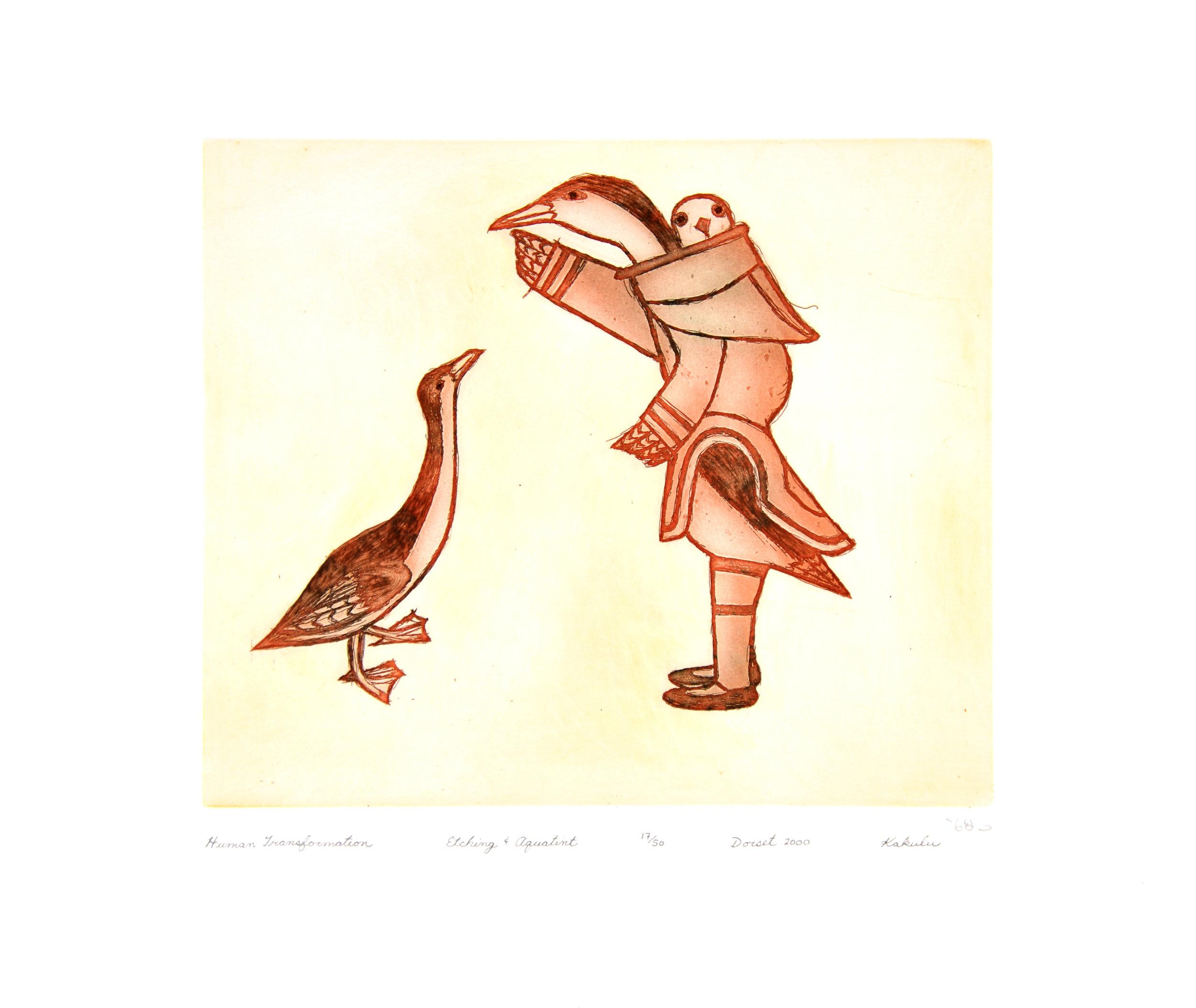 Kakulu Saggiaktok  HUMAN TRANSFORMATION Etching & Aquatint 2000 40 x 47.5 cm $350.00 CDN Released in the 2000 Spring collection Dorset ID#: 2000-S05