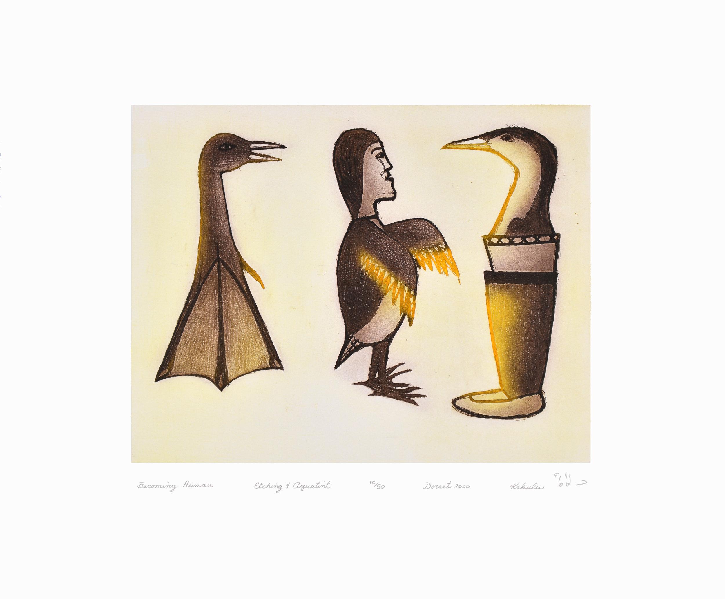 Kakulu Saggiaktok  BECOMING HUMAN Etching & Aquatint 2000 40 x 48 cm $350.00 CDN Released in the 2000 Spring collection Dorset ID#: 2000-S06