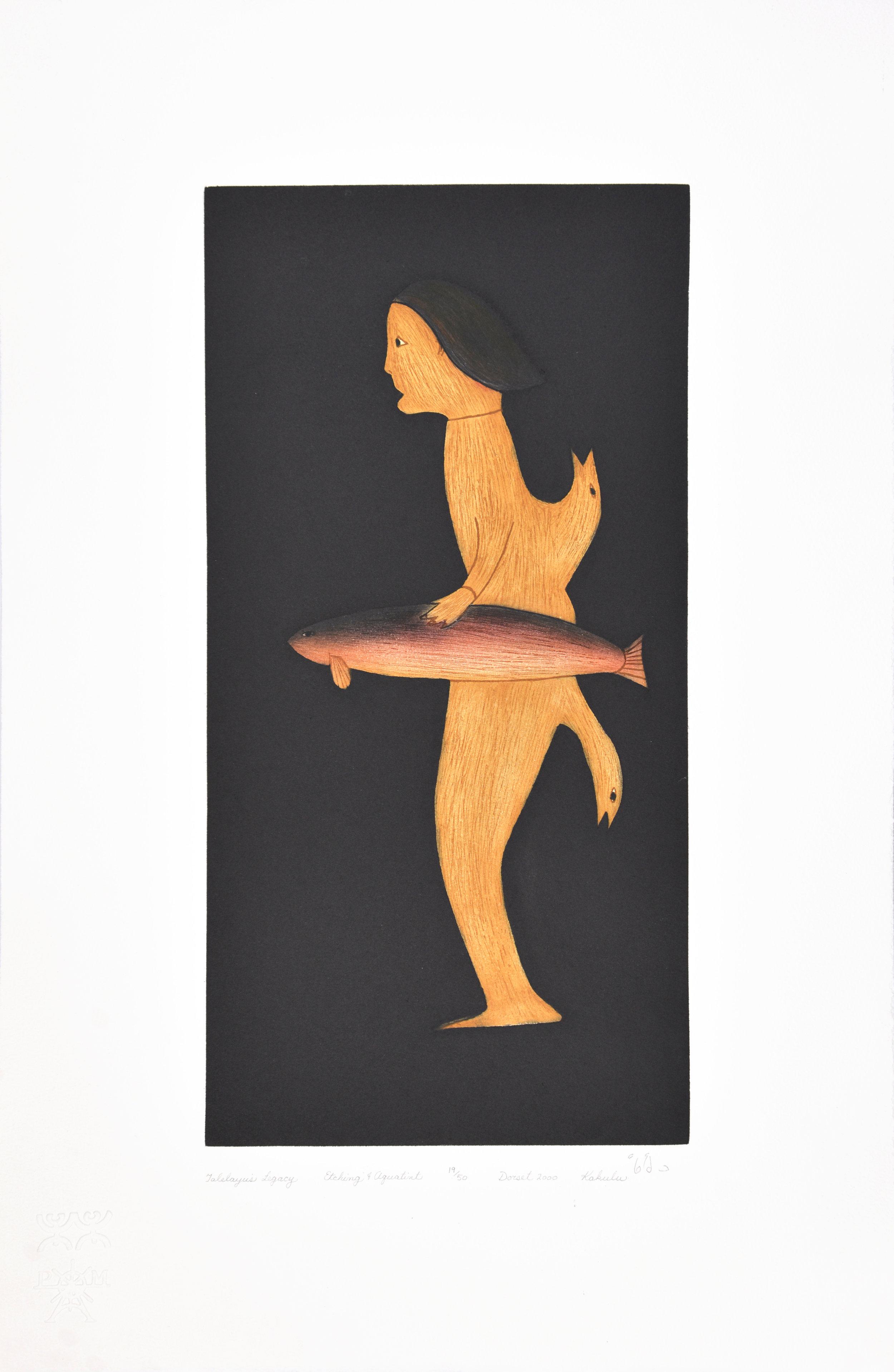 Kakulu Saggiaktok  TALELAYU'S LEGACY Etching & Aquatint 2000 60.5 x 40.5 cm $450.00 CDN Released in the 2000 Spring collection Dorset ID#: 2000-S07